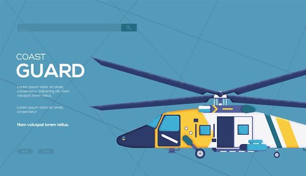 Ulotka helikoptera straży przybrzeżnej, baner internetowy, nagłówek interfejsu użytkownika, wejście na stronę. tekstura ziarna i efekt szumu.