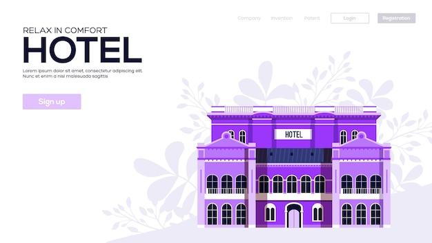 Ulotka hoteli, baner internetowy, nagłówek interfejsu użytkownika, wprowadź witrynę. tekstura ziarna i efekt szumu.