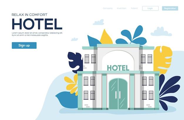 Ulotka hoteli, baner internetowy, nagłówek interfejsu użytkownika, wprowadź witrynę