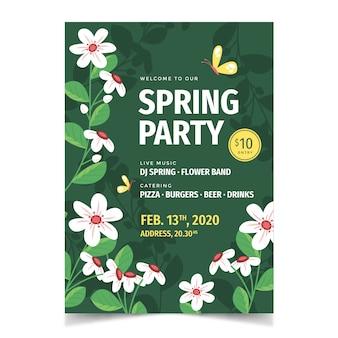 Ulotka impreza wiosna sezon z kwiatami i liśćmi