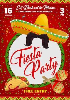 Ulotka imprezowa fiesta z meksykańskimi symbolami sombrero, wąsami i marakasami z tacos i papryczką jalapeno. plakat kreskówka z konfetti, zaproszenie na festiwal wakacyjny w meksyku lub imprezę z muzyką na żywo