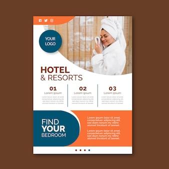 Ulotka informacyjna hotelu ze zdjęciem