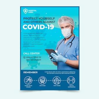 Ulotka informacyjna o koronawirusie ze zdjęciem