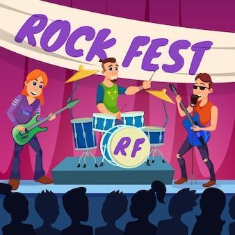 Ulotka informacyjna rock fest invitation flat.