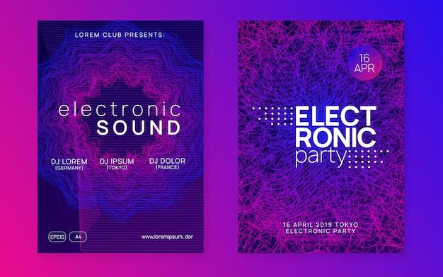 Ulotka klubu neonowego. plakat muzyki tanecznej electro