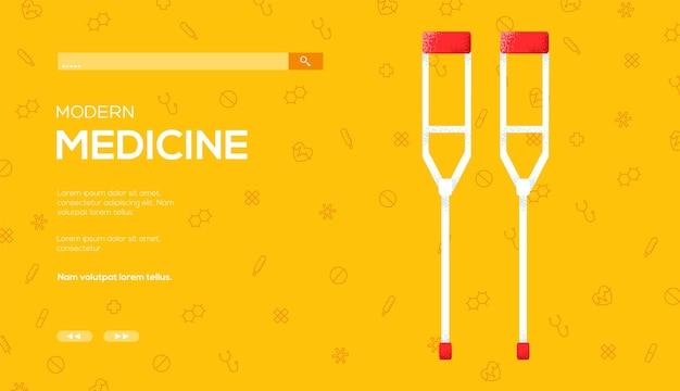 Ulotka koncepcyjna crutch, baner internetowy, nagłówek interfejsu użytkownika, wejście do witryny.