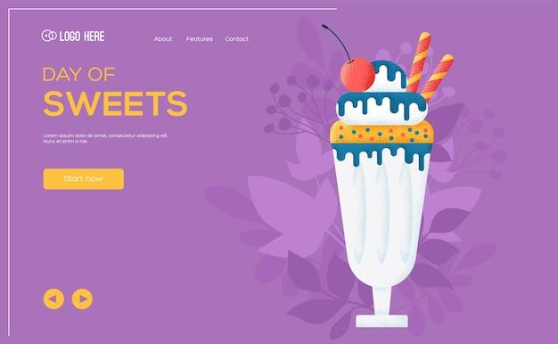 Ulotka koncepcyjna parfait, baner internetowy, nagłówek interfejsu użytkownika, wejście na stronę. tekstura ziarna i efekt szumu.