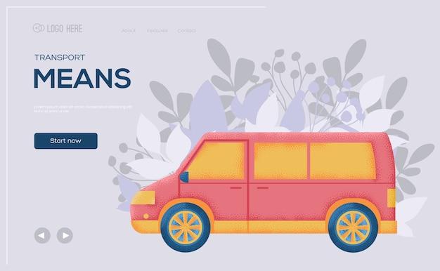 Ulotka koncepcyjna samochodu minivan, baner internetowy, nagłówek interfejsu użytkownika, wejście na stronę. .