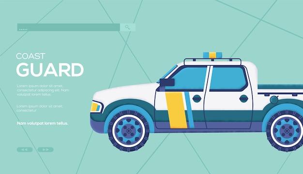 Ulotka koncepcyjna samochodu straży przybrzeżnej, baner internetowy, nagłówek interfejsu użytkownika, wejście na stronę. tekstura ziarna i efekt szumu.