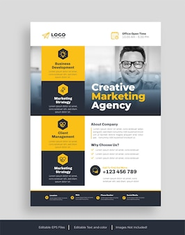Ulotka korporacyjna lub szablon ulotki agencji kreatywnej