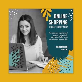 Ulotka kwadratowa szablonu zakupów online