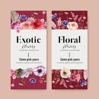 Ulotka kwiatowy wino z różą, zawilec, akwarela ilustracja.