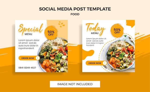 Ulotka lub media społecznościowe publikują tematyczne menu żywności