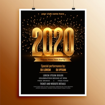 Ulotka lub plakat nowego roku 2020 w kolorach czarnym i złotym