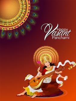 Ulotka lub plakat vasant panchami z ilustracjami saraswati