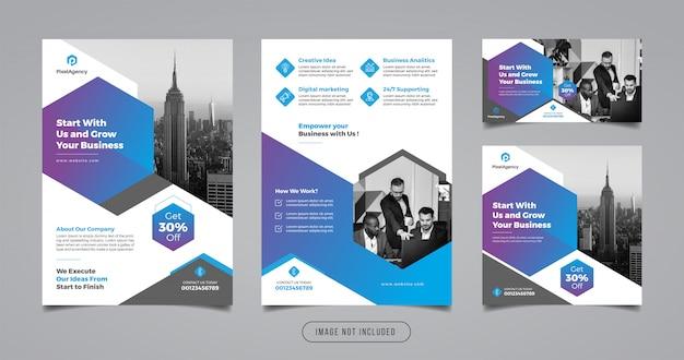 Ulotka marketingowa i szablon transparent mediów społecznościowych
