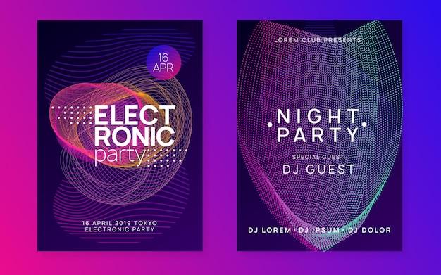 Ulotka muzyczna. dynamiczny kształt i linia gradientu. plakat imprezy klubowej.