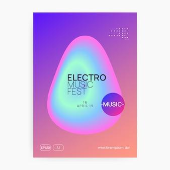 Ulotka muzyczna. elektroniczny dźwięk. nocne wakacje tańca. modny magazyn koncertowy techno