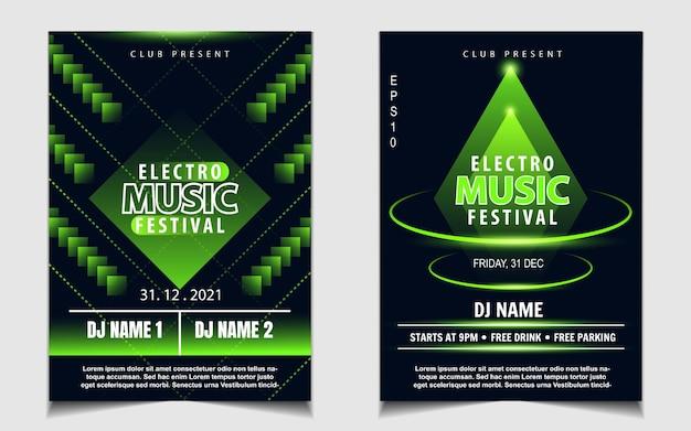 Ulotka muzyczna lub plakat na imprezę taneczną w kolorze zielonym