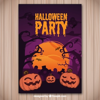 Ulotka na imprezie halloween w odcieniach purpurowych