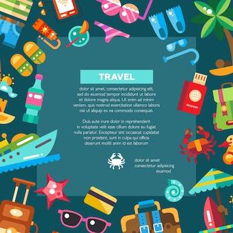 Ulotka nowoczesnych ikon wakacji nad morzem i elementów infografiki