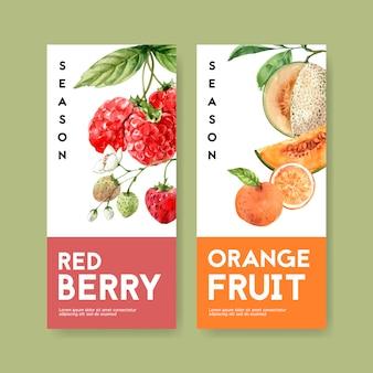 Ulotka o tematyce owoców z jagodami i pomarańczowym wzorem do dekoracji.