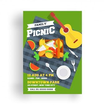 Ulotka piknikowa lub plakat szablon.