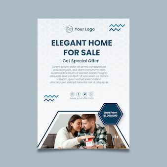 Ulotka pionowa sprzedaży nieruchomości