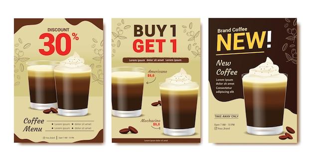 Ulotka plakatu marki kawy do promocji