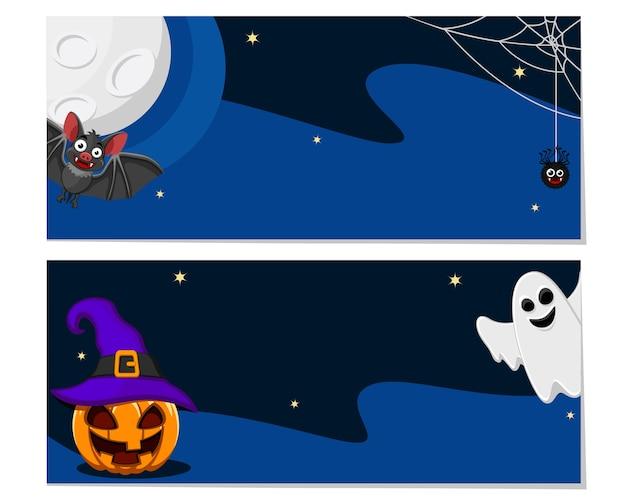 Ulotka po obu stronach, nocne tło z nietoperzem, dynią i duchem. halloween, miejsce na tekst.