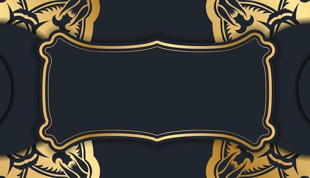 Ulotka powitalna w kolorze czarnym z luksusowymi złotymi zdobieniami dla twojej marki.