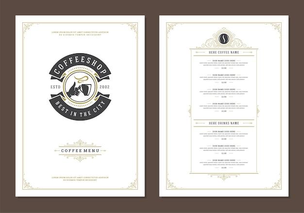 Ulotka projektu szablonu menu kawy dla baru lub kawiarni z symbolem kubek kawy i retro typograficzne