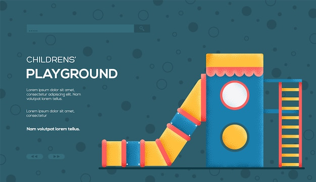 Ulotka przedstawiająca koncepcję slajdu dla dzieci, baner internetowy, nagłówek interfejsu użytkownika, wejście do witryny. .