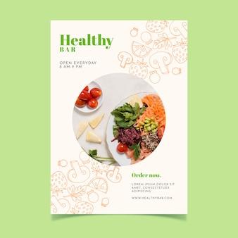 Ulotka restauracji zdrowej żywności ze zdjęciem