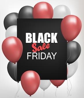 Ulotka sklepu black friday sale, tło z plakatem sprzedaży wiązki balonów helowych, realistyczny szablon transparent zniżki.