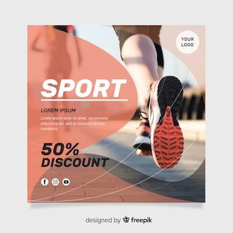 Ulotka sportowa z szablonem fotograficznym