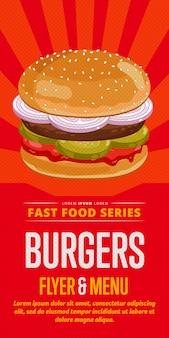 Ulotka sprzedaży burgerów.