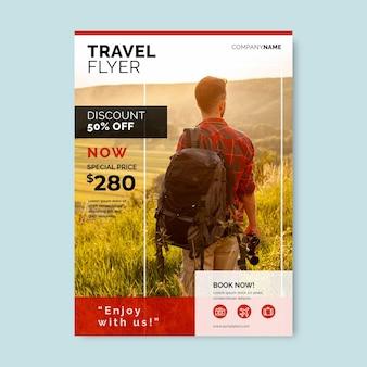 Ulotka sprzedaży podróżnej ze zdjęciem