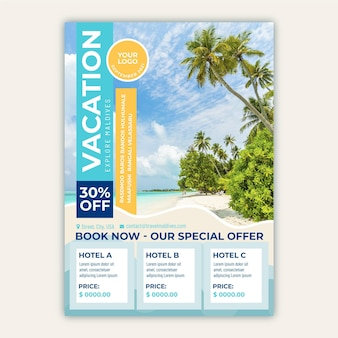 Ulotka sprzedaży podróży z plażą i palmami