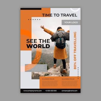 Ulotka sprzedaży podróży ze zdjęciem