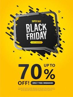 Ulotka sprzedaży w czarny piątek. kolorowy plakat z rabatem do 70%