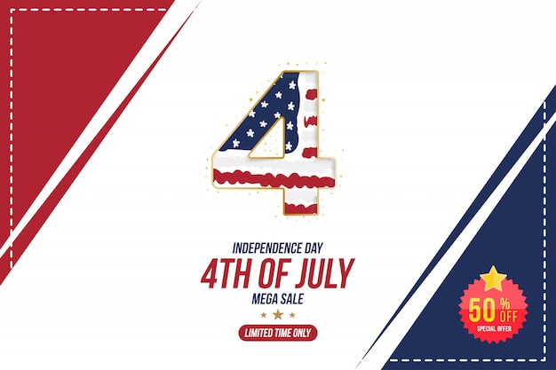 Ulotka świętować szczęśliwy 4 lipca, transparent dzień niepodległości