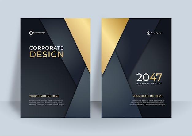 Ulotka szablon czarne złoto okładka projekt układu dla biznesu.