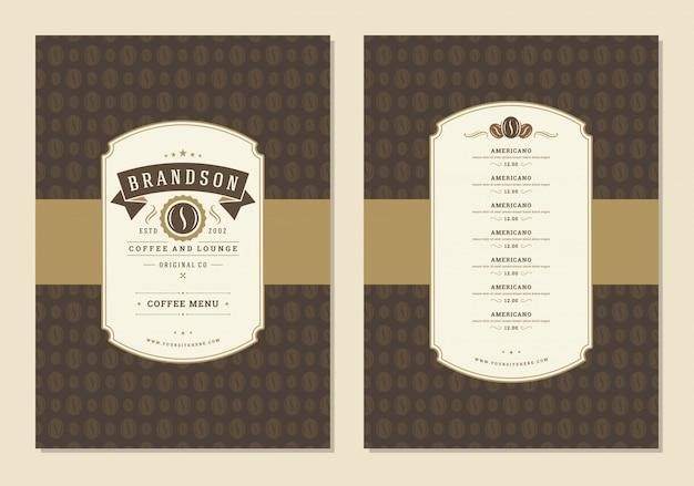 Ulotka szablonu projektu menu kawy dla kawiarni z symbolem fasoli kawiarni i elementami dekoracji typograficznych vintage.
