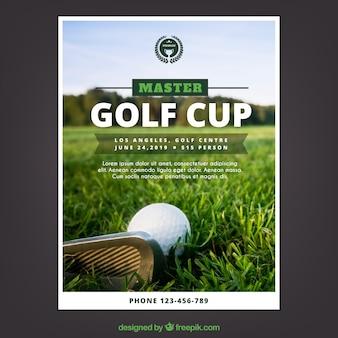 Ulotka turniej golfa w stylu płaski