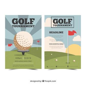 Ulotka turniej golfa w stylu vintage