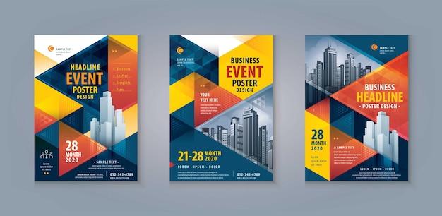 Ulotka ulotka plakat broszura okładka szablon projekt abstrakcyjny niebieski i czerwony trójkąt geometryczny