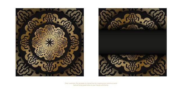 Ulotka w ciemnym kolorze ze złotym luksusowym wzorem
