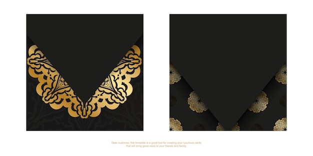 Ulotka w ciemnym kolorze ze złotym wzorem vintage