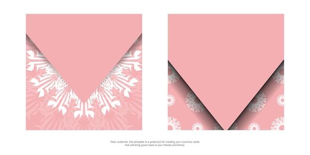 Ulotka w kolorze różowym z białym ornamentem mandali do projektowania.